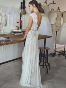 Stunning A-Line V Neck Open Back Ivory Chiffon Wedding Dresses,Lace Wedding Dresses 2019