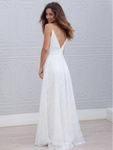 Simple A-Line Spaghetti Straps V Neck Open Back White Lace Wedding Dresses
