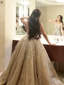 Charming Ball Gown V Neck Backless Champagne Wedding Dresses,Prom Dresses 2019