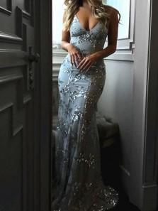 Sparkly Mermaid V Neck Backless Sliver Sequins Long Prom Dresses,Formal Party Dresses