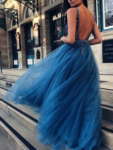 Charming A-Line V Neck Open Back Peacock Tulle Long Prom Dresses with Beading,Elegant Pageant Dresses