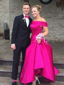 Charming A-Line Off the Shoulder Rose Red Satin Long Prom Dresses with Pockets,Evening Party Dresses