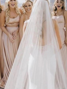 Simple A-Line Scoop Neck Cross Back Champagne Satin Long Bridesmaid Dresses Under 100