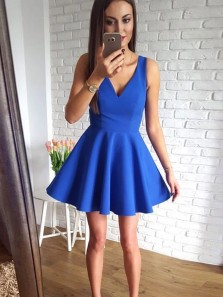 Simple A-Line V Neck Royal Blue Satin Short Homecoming Dresses,Back to School Dresses,Short Prom Dresses Under 100