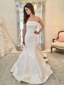 Simple Mermaid Strapless Ivory Satin Long Wedding Dresses with Bow-knot,bridal Gown