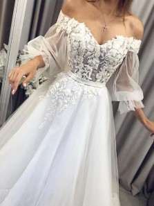 Princess Ball Gown Off the Shoulder Long Sleeve Ivory Tulle Long Prom Dresses with Appliques,White Wedding Dresses 191123002