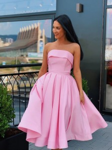 Cute A-Line Strapless Open Back Yellow Pink Satin Short Prom Dresses with Belt,Cocktail Party Dresses,Homecoming Dresses 2020