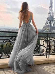 Glamorous V Neck Open Back Grey Tulle Long Prom Dresses with Beading,High Split Evening Party Dresses