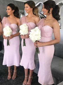Elegant Body con One Shoulder Open back Pink Satin Tea Length Bridesmaid Dresses