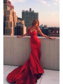 Mermaid Spaghetti Straps Backless Sweep Train Red Satin Prom Dress