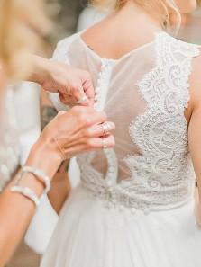 Gorgeous A-Line V Neck Button Back White Chiffon Beach Wedding Dresses,Lace Bride Dresses