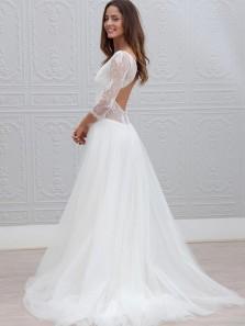 Simple A-Line V Neck 3/4 Sleeve Backless White Tulle Wedding Dresses,Vintage Wedding Gown