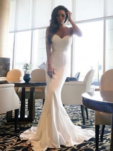 Unique Mermaid Spaghetti Straps Open Back White Elastic Satin Long Prom Dresses with Lace,Sexy Evening Dresses
