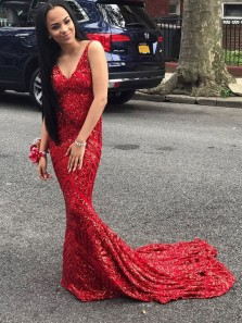 Gorgeous Mermaid V Neck Backless Red Sequins Long Prom Dresses,Charming Evening Party Dresses