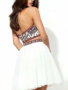 Cute A-Line Two Piece Halter Open Back White Printed Tulle Short Prom Dresses,Cocktail Party Dresses