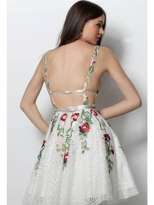 Modest A-Line Deep V Neck Backless White Short Homecoming Prom Dresses with Embroidery,Formal Party Dresses DG0918002