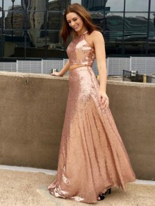 Elegant Two Piece Halter Open Back Champagne Sequins Long Prom Dresses,Charming  Formal Party Dresses DG0920002