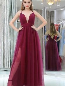 Charming A-Line Sexy Deep V Neck Criss-Cross Back Open Back Burgundy Tulle Long Prom Dresses with Side Split,Formal Dresses