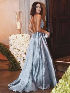 Elegant A-Line V Neck Backless Blue Satin Long Prom Dresses with Beading,Charming Formal Party Dresses