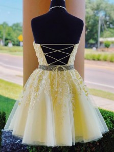 Charming A-Line Halter Cross Back Yellow Tulle Short Prom Dresses with Appliques,Formal Evening Party Dresses,Homecoming Dresses