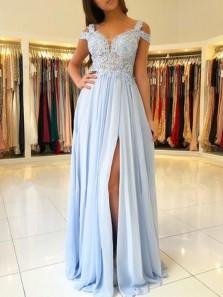 Light Blue Chiffon Off The Shoulder Prom Dresses,Lace Appliques Formal Evening Dress