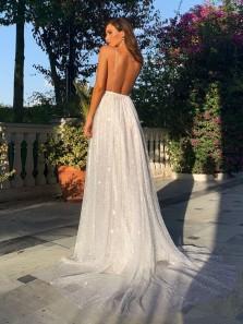 Gorgeous A-Line V Neck Spaghetti Straps Backless White Sequins Prom Dresses,Sparkly Wedding Dresses