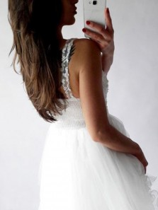 Cute A Line V-Neck White Flowy Homecoming Dress With Appliques