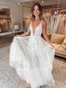 Unique A-Line V Neck White Tulle Lace Boho Wedding Dresses