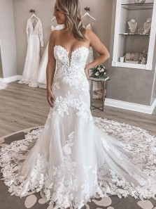 Exquisite Mermaid Sweetheart White Tulle Lace Wedding Dresses
