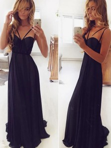 Sexy A-line Sweetheart Spaghetti Straps Black Chiffon Long Prom Evening Dresses Under 100