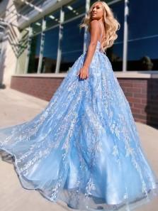 Princess A-Line V Neck Cross Back Sky Blue Lace Prom Evening Dresses,Formal Evening Dresses 2021