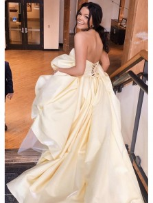 Elegant A-Line Sweetheart Strapless Daffodil Yellow Satin Long Prom Dresses with Pockets,Formal Party Dresses