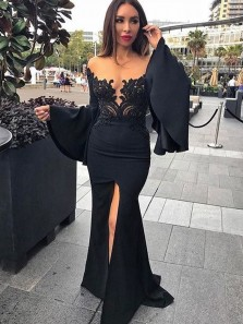 Sexy Mermaid Trumpet Sleeve Black Satin Long Prom Dresses with Lace Split,Formal Evening Party Dresses