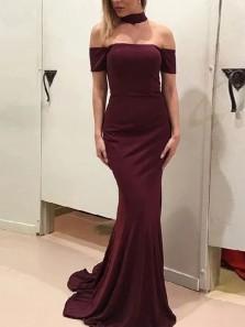 Elegant Mermaid Off the Shoulder Short Sleeve Burgundy Satin Long Prom Dresses with Train,Evening Party Dresses 2020