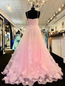 Fairy A-Line Spaghetti Straps Open Back Pink Tulle Long Prom Dresses with Flower Appliques,Sweet 16 Party Dresses,Girls Junior Graduation Gown