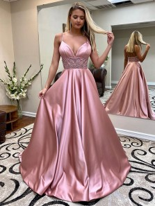 Gorgeous A-Line V Neck Open Back Spaghetti Straps Blush Satin Long Prom Dresses with Beaded,Formal Evening Party Dresses