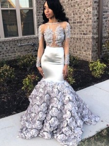 Unique Mermaid Boat Neck V Back Long Sleeved Silver Satin Long Prom Dresses with Appliques Flowers,Formal Evening Party Dresses