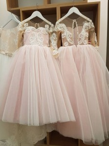 Cute A-Line Round Neck Cap Sleeve Blush Tulle Long Flower Girls Dresses with Appliques,Birthday Party Dresses