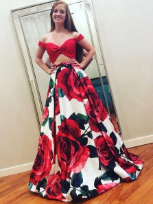 Chic Two Piece Off the Shoulder Red Floral Printed Satin Long Prom Dresses with Pockets,Girls Junior Graduation Gown,Formal Evening Party Dresses
