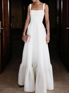 Chic A-Line Square Neck Open Back White Satin Long Prom Dresses with Ruched,Formal Party Dresses