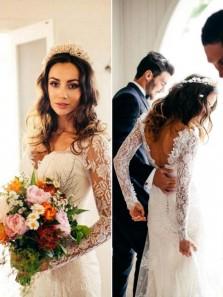 Vintage Mermaid V Neck Open Back Long Sleeve White Lace Wedding Dresses