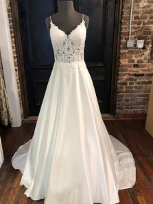 Simple A-Line V Neck Spaghetti Straps Open Back White Satin Wedding Dresses,Lace Prom Dresses with Train
