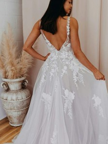 Elegant A-Line V Neck Open Back White Lace Beach Wedding Dresses,Bridal Wedding Gown
