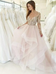 Princess Ball Gown Boat Neck Backless Sweet 16 Party Dresses,Quinceanera Dresses,Tulle Wedding Dresses