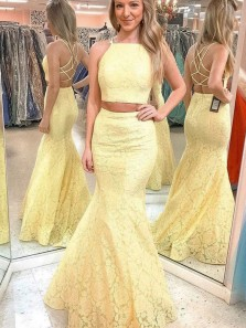 Unqiue Mermaid Two Piece Yellow Lace Prom Dresses,Formal Evening Party Dresses