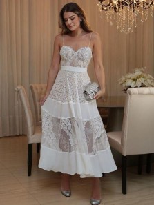 Modern A-Line Sweetheart Spaghetti Straps Open Back White Lace Ankle Length Wedding Guest Dresses,Simple Prom Dresses