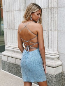 Luxurious Bodycon Scoop Neck Cross Back Sky Blue Beading Short Prom Dresses,Evening Party Dresses,Short Homecoming Dresses