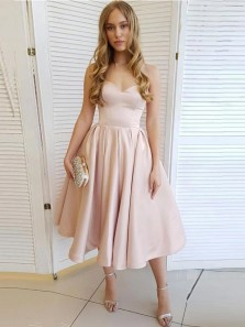 Simple A-Line Sweetheart Open Back Light Blush Pink Satin Tea Length Homecoming Dresses with Pockets,Cheap Formal Party Dresses Under 100