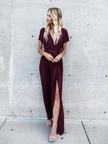 Simple A-Line V Neck Short Sleeved High Split Burgundy Long Prom Dresses Wrap Dresses,Evening Party Dresses