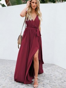 Charming A-Line V Neck High Split Dark Red Chiffon Long Prom Dresses with Belt,Evening Party Dresses Under 100